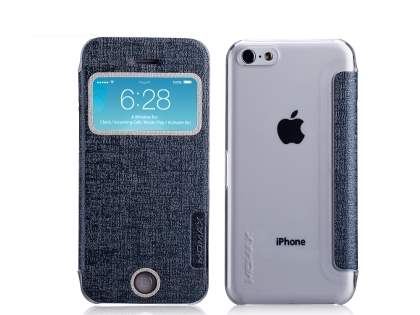 Momax Flip View Case for iPhone 5c - Grey Leather Wallet Case
