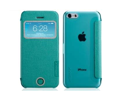Momax Flip View Case for iPhone 5c - Mint Leather Wallet Case