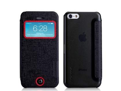 Momax Flip View Case for iPhone 5c - Night Black Leather Wallet Case
