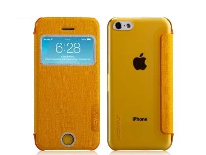 Momax Flip View Case for iPhone 5c - Canary Yellow Leather Wallet Case
