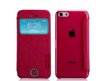 Momax Flip View Case for iPhone 5c - Coral Leather Wallet Case