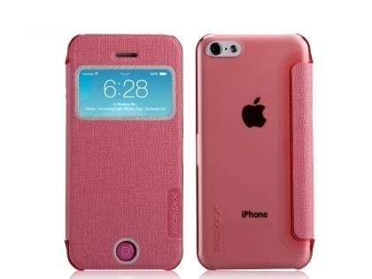 Momax Flip View Case for iPhone 5c - Baby Pink Leather Wallet Case