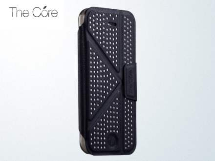 Momax The Core Polka Dots Flip Case for iPhone 5c - Black/Grey Leather Flip Case