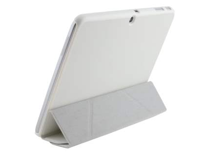 Premium Slim Synthetic Leather Flip Case with Stand for Samsung Galaxy Tab 3 10.1 - Pearl White Leather Flip Case