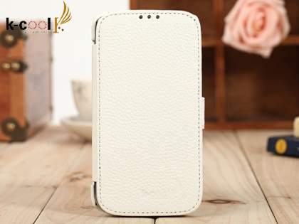 k-cool Slim Genuine Leather Wallet Case for Samsung Galaxy S4 I9500 - Pearl White Leather Wallet Case