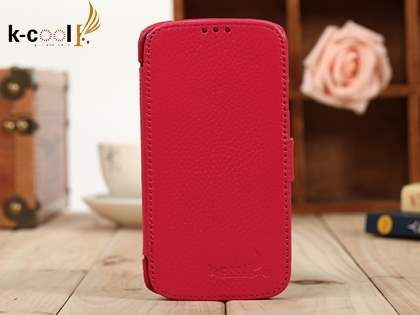 k-cool Slim Genuine Leather Wallet Case for Samsung Galaxy S4 I9500 - Pink Leather Wallet Case