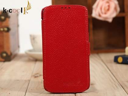 k-cool Samsung Galaxy S4 I9500 Slim Genuine Leather Wallet Case - Red