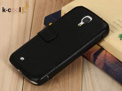k-cool Samsung Galaxy S4 I9500 Slim Genuine Leather Wallet Case - Classic Black