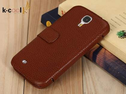 k-cool Samsung Galaxy S4 I9500 Slim Genuine Leather Wallet Case - Brown