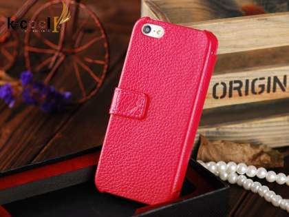 k-cool iPhone SE/5s/5 Slim Genuine Leather Wallet Case - Coral Pink