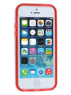 Transparent TPU Gel Case for iPhone 5c - Red/White