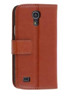 Synthetic Leather Wallet Case with Stand for Samsung Galaxy S4 mini - Brown Leather Wallet Case