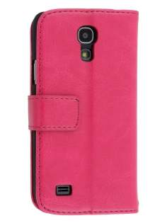 Synthetic Leather Wallet Case with Stand for Samsung Galaxy S4 mini - Pink Leather Wallet Case