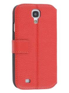 k-cool Samsung Galaxy S4 I9500 Smart Genuine Leather Wallet Case with Stand - Red