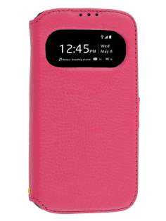 k-cool Samsung Galaxy S4 I9500 Smart Genuine Leather Wallet Case with Stand - Pink