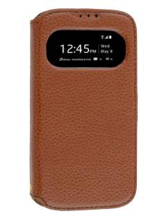 k-cool Smart Genuine Leather Wallet Case with Stand for Samsung Galaxy S4 I9500 - Brown Leather Wallet Case