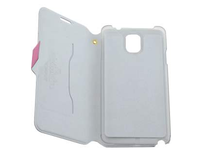 Slim Genuine Leather Portfolio Case for Samsung Galaxy Note 3 - Pink