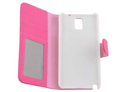 Samsung Galaxy Note 3 Synthetic Leather Wallet Case with Stand - Pink