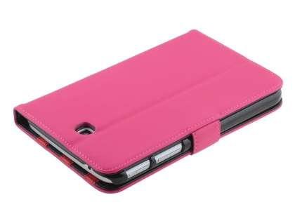 Synthetic Leather Flip Case with Dual-Angle Tilt Stand for Samsung Galaxy Tab 3 7.0 - Pink