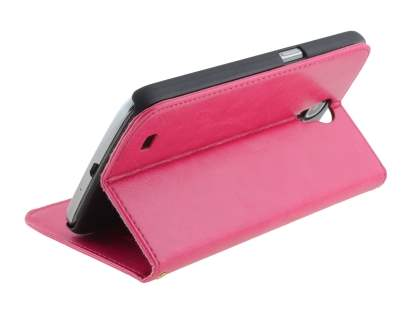 Synthetic Leather Wallet Case with Stand for Samsung Galaxy Mega 6.3 I9200 - Pink