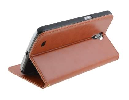 Synthetic Leather Wallet Case with Stand for Samsung Galaxy Mega 6.3 I9200 - Brown