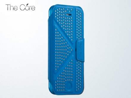 Momax The Core Polka Dots Flip Case for iPhone 5c - Blue Leather Flip Case