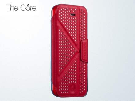 Momax The Core Polka Dots Flip Case for iPhone 5c - Red Leather Flip Case