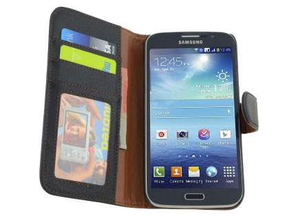 Synthetic Leather Wallet Case with Stand for Samsung Galaxy Mega 5.8 I9150 - Classic Black