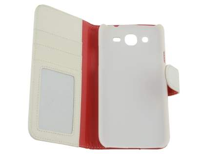 Samsung Galaxy Mega 5.8 I9150 Synthetic Leather Wallet Case with Stand - Pearl White