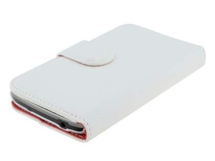 Synthetic Leather Wallet Case with Stand for Samsung Galaxy Mega 6.3 I9200 - Pearl White