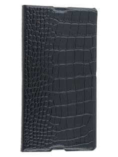 TS-CASE crocodile pattern Genuine leather Wallet Case for Sony Xperia Z Ultra - Classic Black