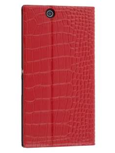 TS-CASE crocodile pattern Genuine leather Wallet Case for Sony Xperia Z Ultra - Red Leather Wallet Case