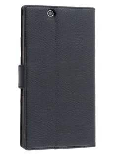 Slim Synthetic Leather Wallet Case with Stand for Sony Xperia Z Ultra - Classic Black Leather Wallet Case