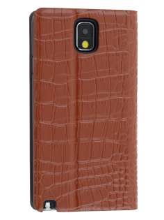 TS-CASE crocodile pattern Genuine leather Wallet Case for Samsung Galaxy Note 3 - Brown