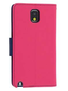 Mercury Goospery Colour Fancy Diary Case with Stand for Samsung Galaxy Note 3 - Hot Pink/Navy