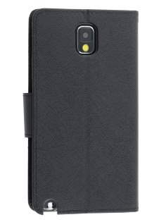 Mercury Colour Fancy Diary Case with Stand for Samsung Galaxy Note 3 - Classic Black