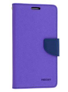 Mercury Goospery Colour Fancy Diary Case with Stand for Samsung Galaxy Note 3 - Purple/Navy Leather Wallet Case