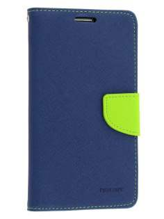 Mercury Goospery Colour Fancy Diary Case with Stand for Samsung Galaxy Note 3 - Navy/Lime Leather Wallet Case