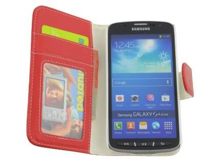 Synthetic Leather Wallet Case with Stand for Samsung Galaxy S4 Active I9295 - Red