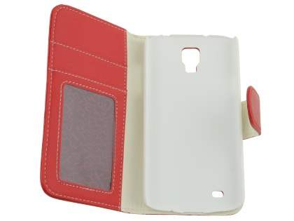 Samsung Galaxy S4 Active I9295 Synthetic Leather Wallet Case with Stand - Red