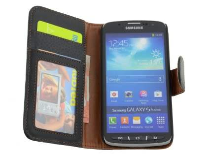 Samsung Galaxy S4 Active I9295 Synthetic Leather Wallet Case with Stand - Classic Black