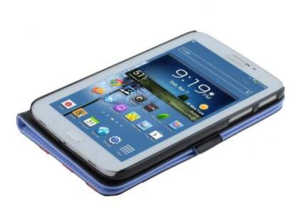 Samsung Galaxy Tab 3 7.0 Synthetic Leather Flip Case with Dual-Angle Tilt Stand - Blue