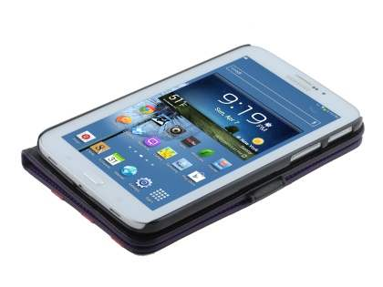 Synthetic Leather Flip Case with Dual-Angle Tilt Stand for Samsung Galaxy Tab 3 7.0 - Purple