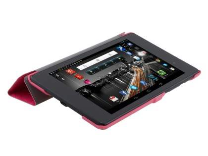 Slim Synthetic Leather Flip Case with Stand for Asus Google Nexus 7 2013 - Pink