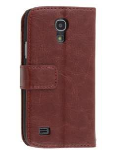 Synthetic Leather Wallet Case with Stand for Samsung Galaxy S4 mini - Chocolate Leather Wallet Case