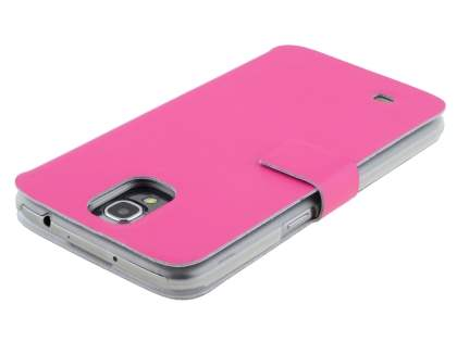 Slim Genuine Leather Portfolio Case for Samsung Galaxy Mega 6.3 I9200 - Pink