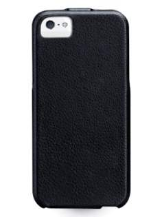 Slim Genuine Leather Flip Case for iPhone SE/5s/5 - Classic Black Leather Flip Case