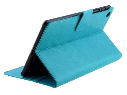 Asus Google Nexus 7 2013 Slim Synthetic Leather Wallet Case with Stand - Aqua Blue Leather Wallet Case