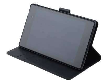 Asus Google Nexus 7 2013 Slim Synthetic Leather Wallet Case with Stand - Classic Black