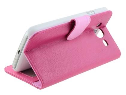 Samsung Galaxy Mega 5.8 I9150 Synthetic Leather Wallet Case with Stand - Pink
